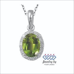 Natural Diamond Halo Peridot Pendant White Gold